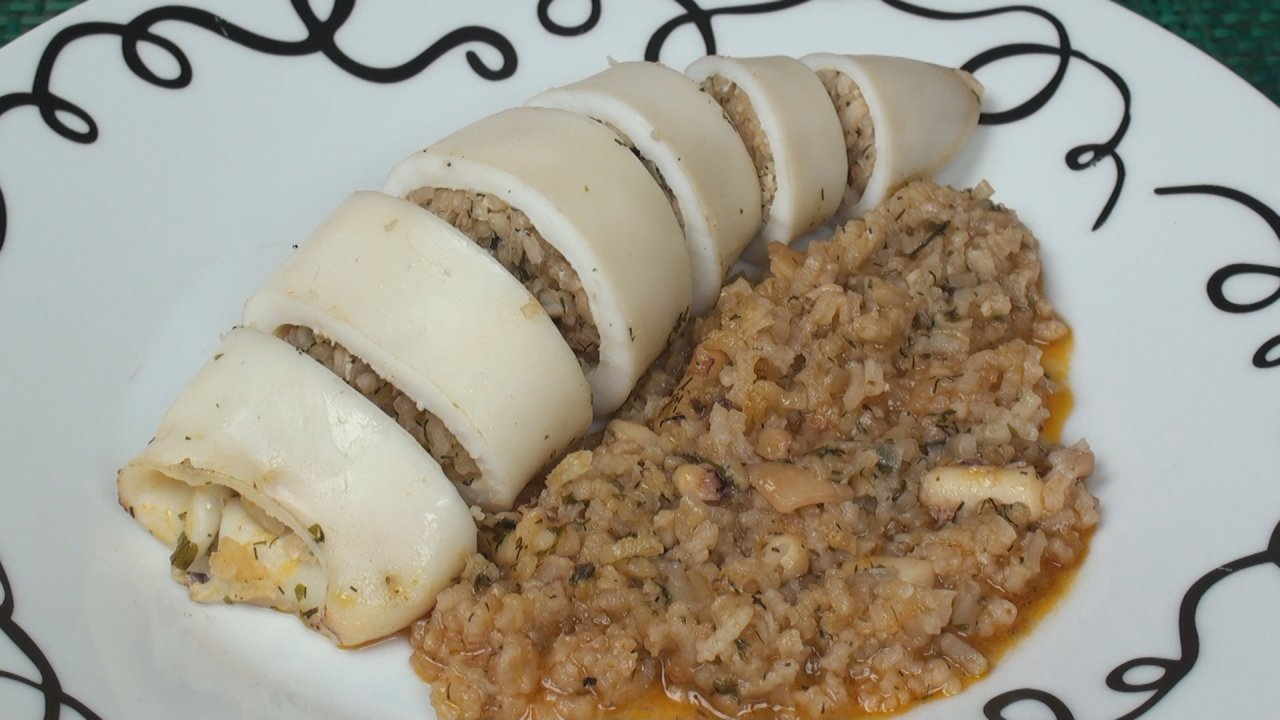 Squid Stuffed with Rice and Herbs